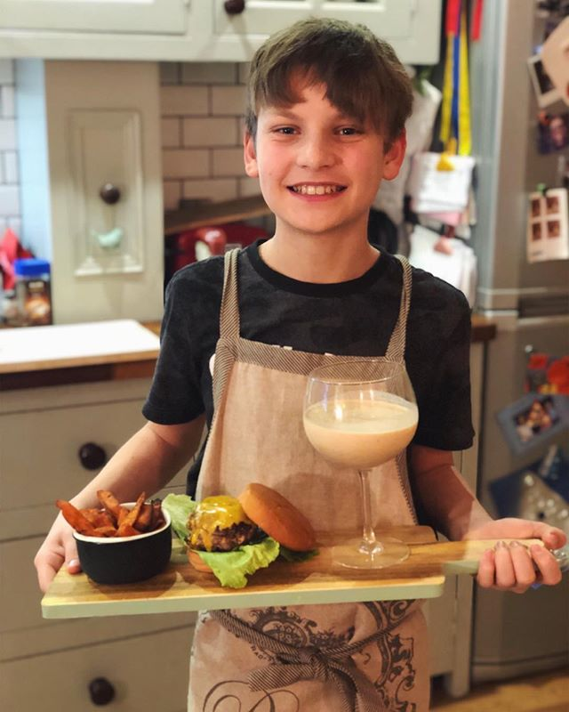 Homemade burgers, sweet potato fries and peanut butter milkshakes by @edenfromholz — Yum!