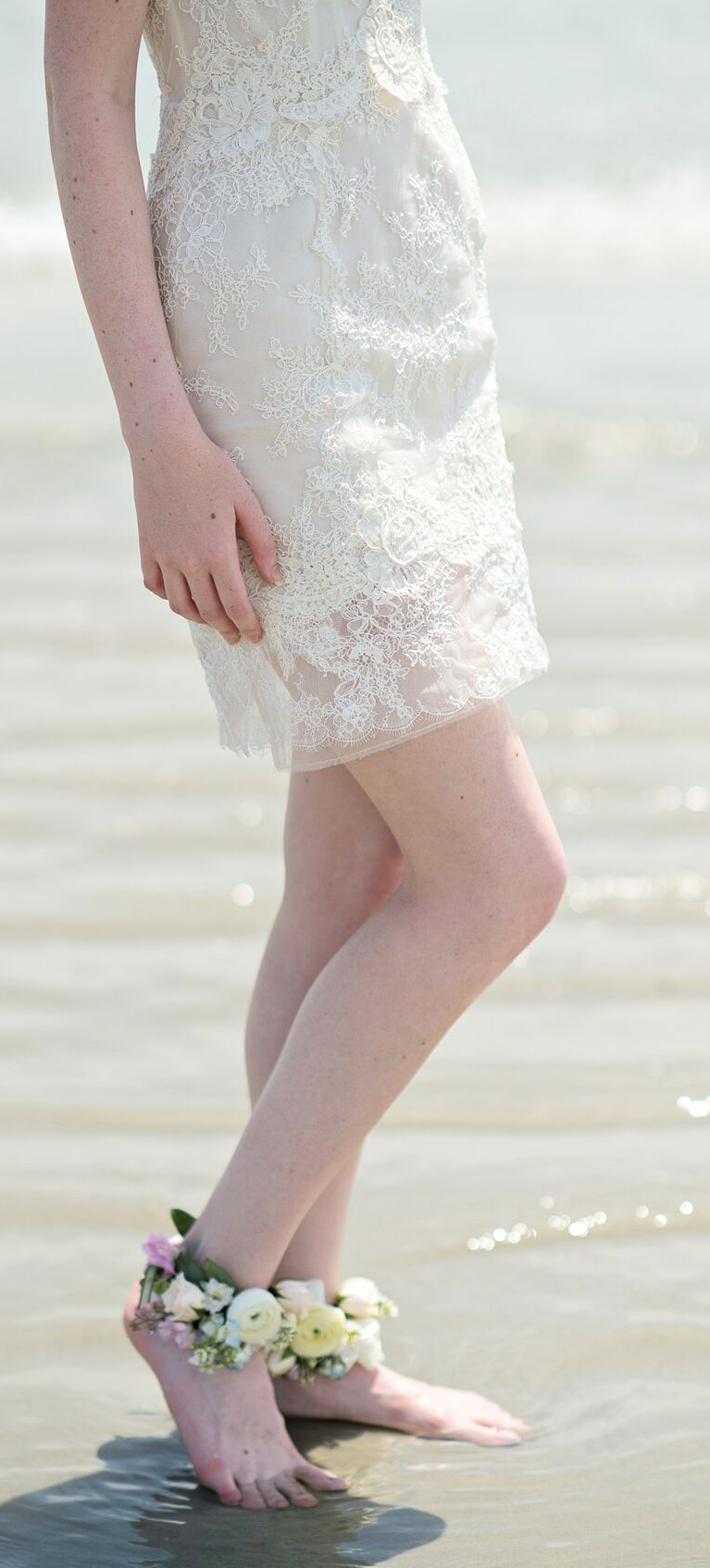 Photo Credit: Kristen Weaver Photography  If you are having a beach wedding, floral ankle pieces are perfect.The good news is that they're flowers, who cares if they get wet.