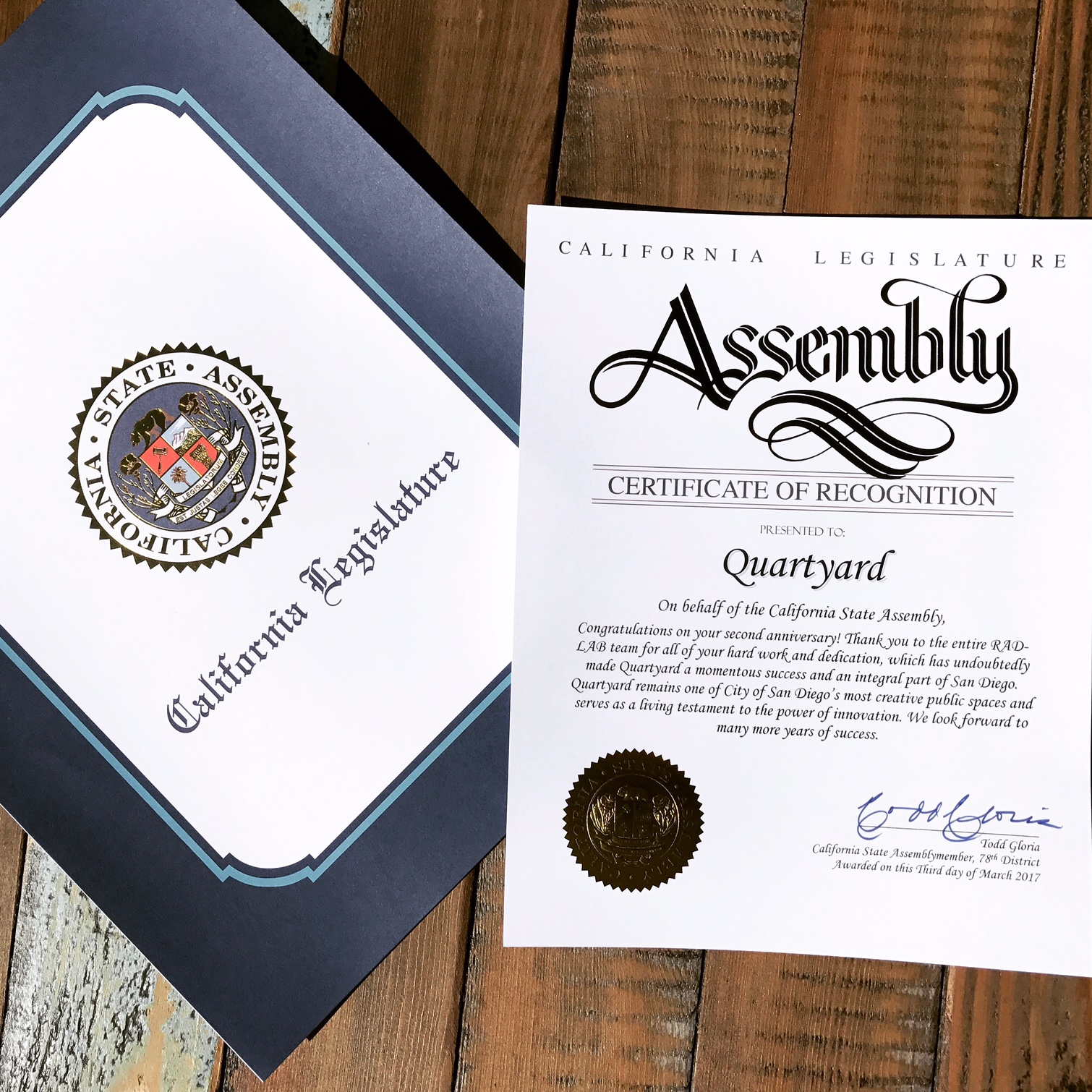 quartyard award California state assembly