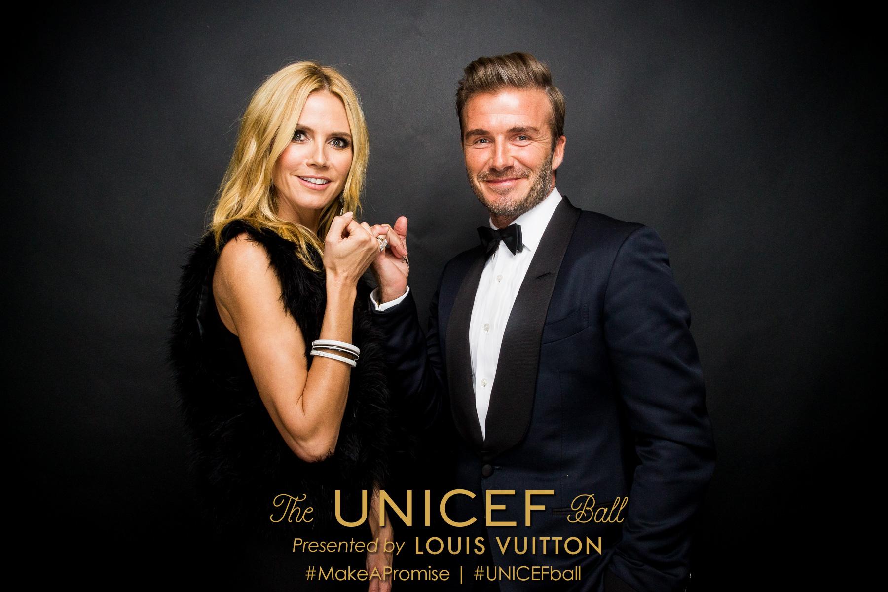 UNICEF Ambassador Heidi Klum and UNICEF Goodwill Ambassador David Beckham at the 2016 UNICEF Ball presented by Louis Vuitton