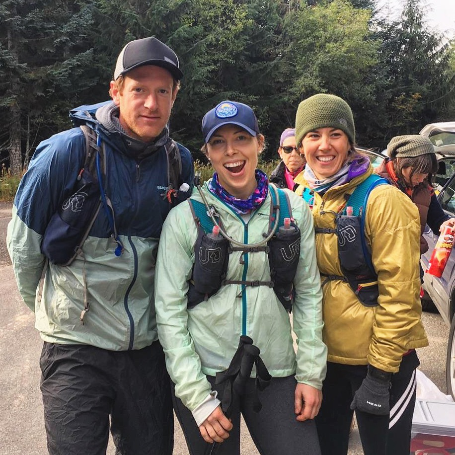 Angels to Alpine, Lolo Pass aid station, approx. 78 miles.  Pictured: Willie McBride, Kate McElroy (A2A finisher!), Sarah Foote