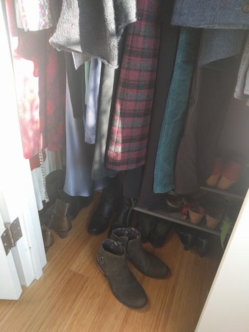 It's a squeeze, but it's the only quiet place in the apartment - The clothing acts as a sound buffer