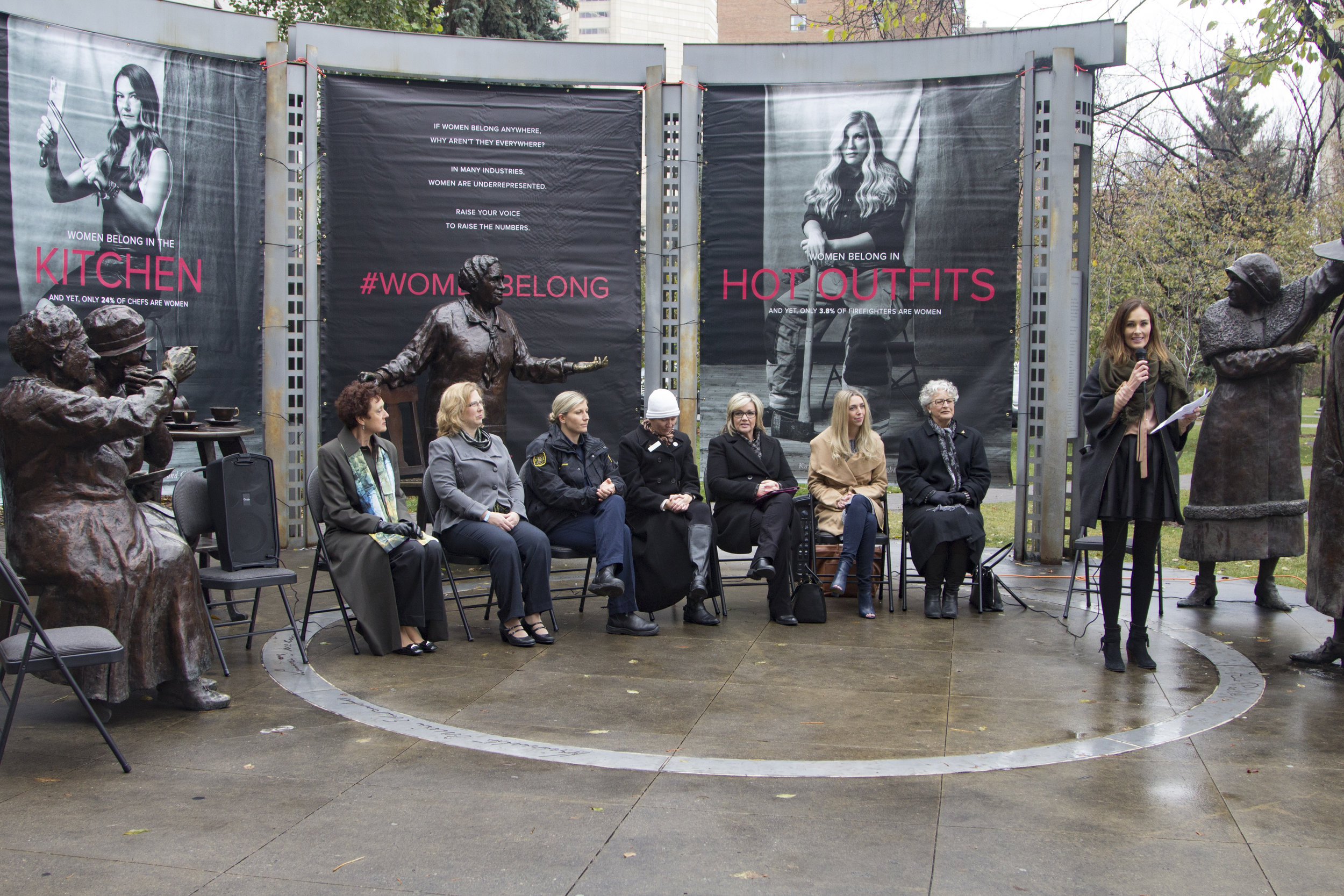 Persons Day event unveiling #WomenBelong campaign at Olympic Plaza in Calgary on Oct 18, 2016