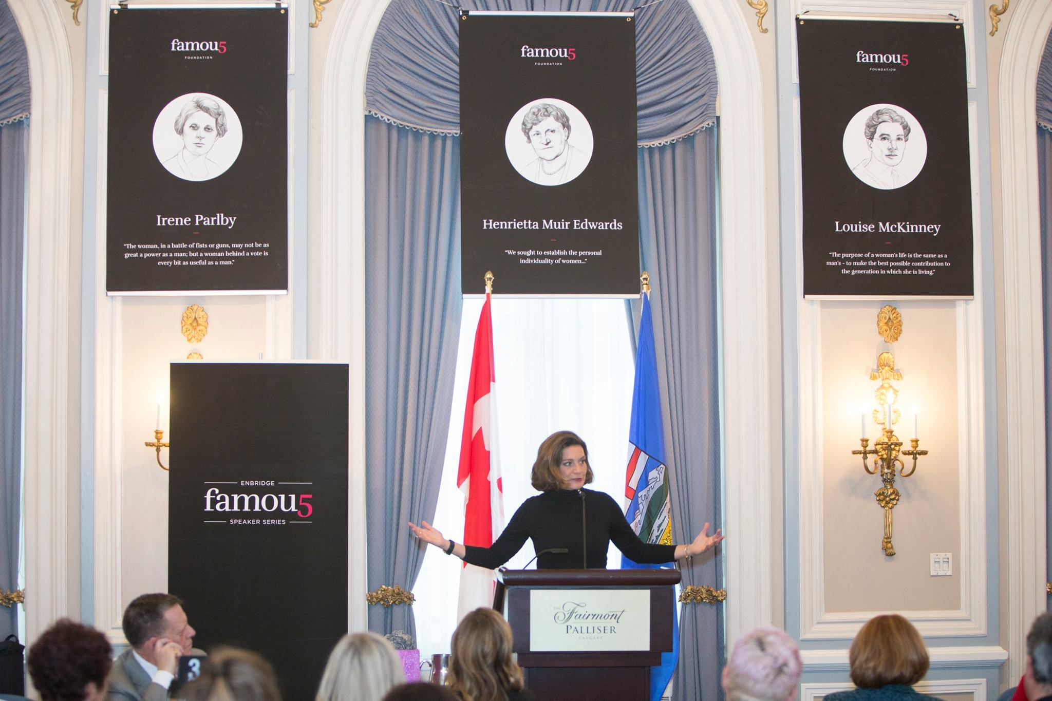 Lisa LaFlamme inspiring the room at the Famous 5 Speaker Series
