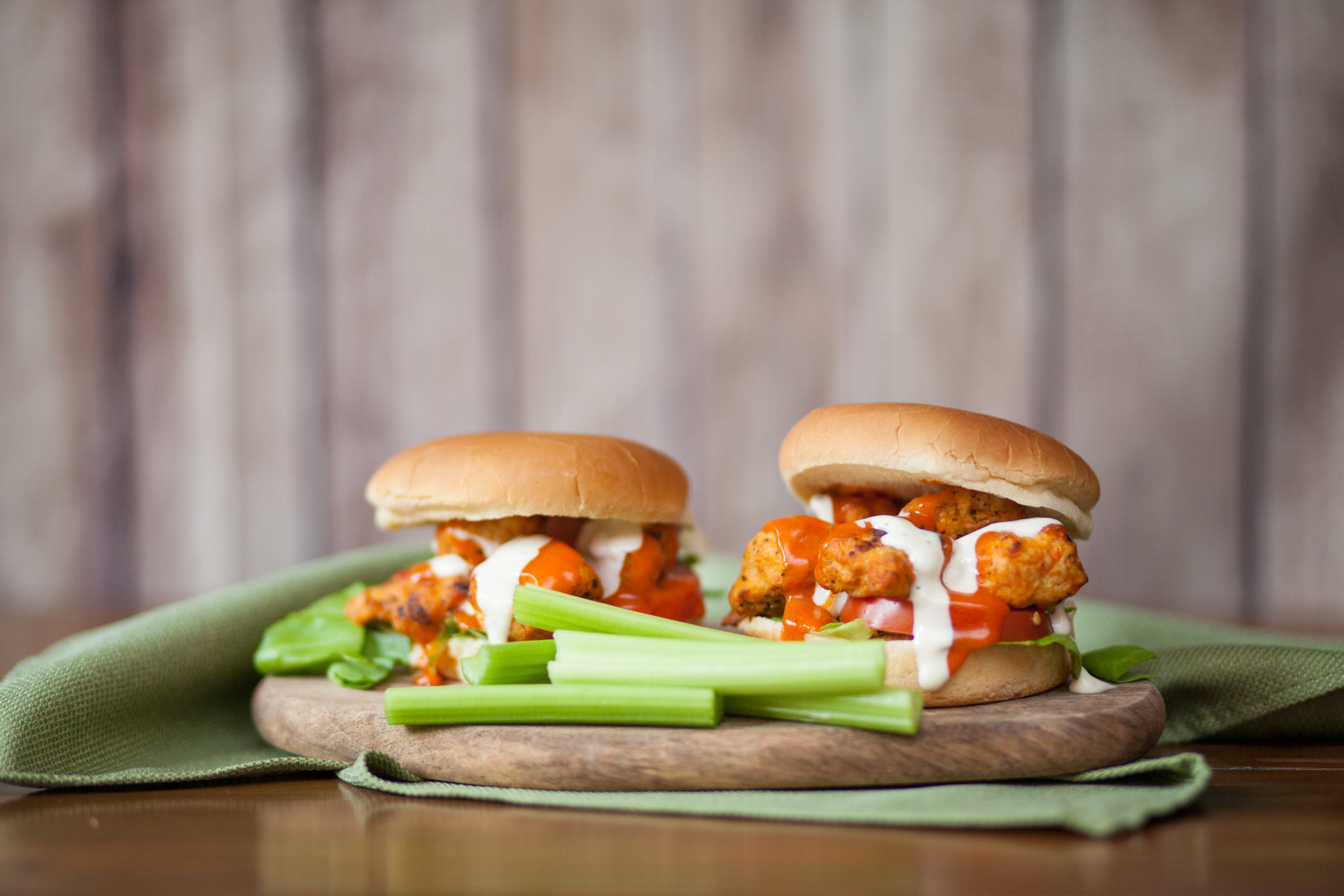 5. Buffalo Chicken Sandwiches - Who doesn't like a buffalo chicken sandwich? It's something that pretty much everyone agrees on and just is, like, the cool guy of sandwiches. We like ours on Johnsonville Stadium Honey Hamburger Buns for a little added sweetness.