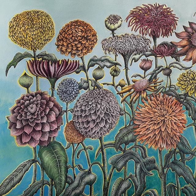 Flowers In Blue Water colour & ink Exhibition Pea Sea Art Gallery ,Dunedin 0ct 6th  #florals #flowers #nzart #peaseaart #suesymeart #drawing #design #doodle #colour #coolstoregallery #art