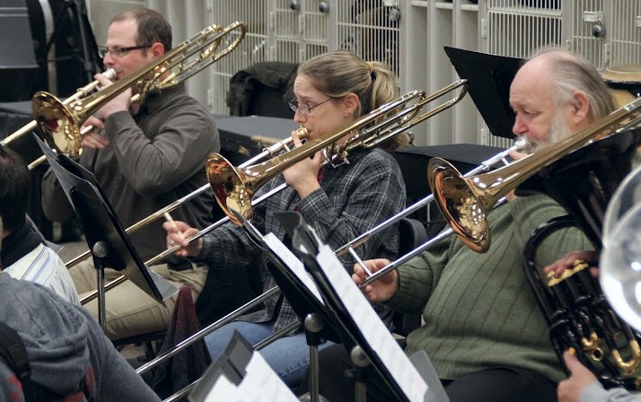 The trombone section hard at work