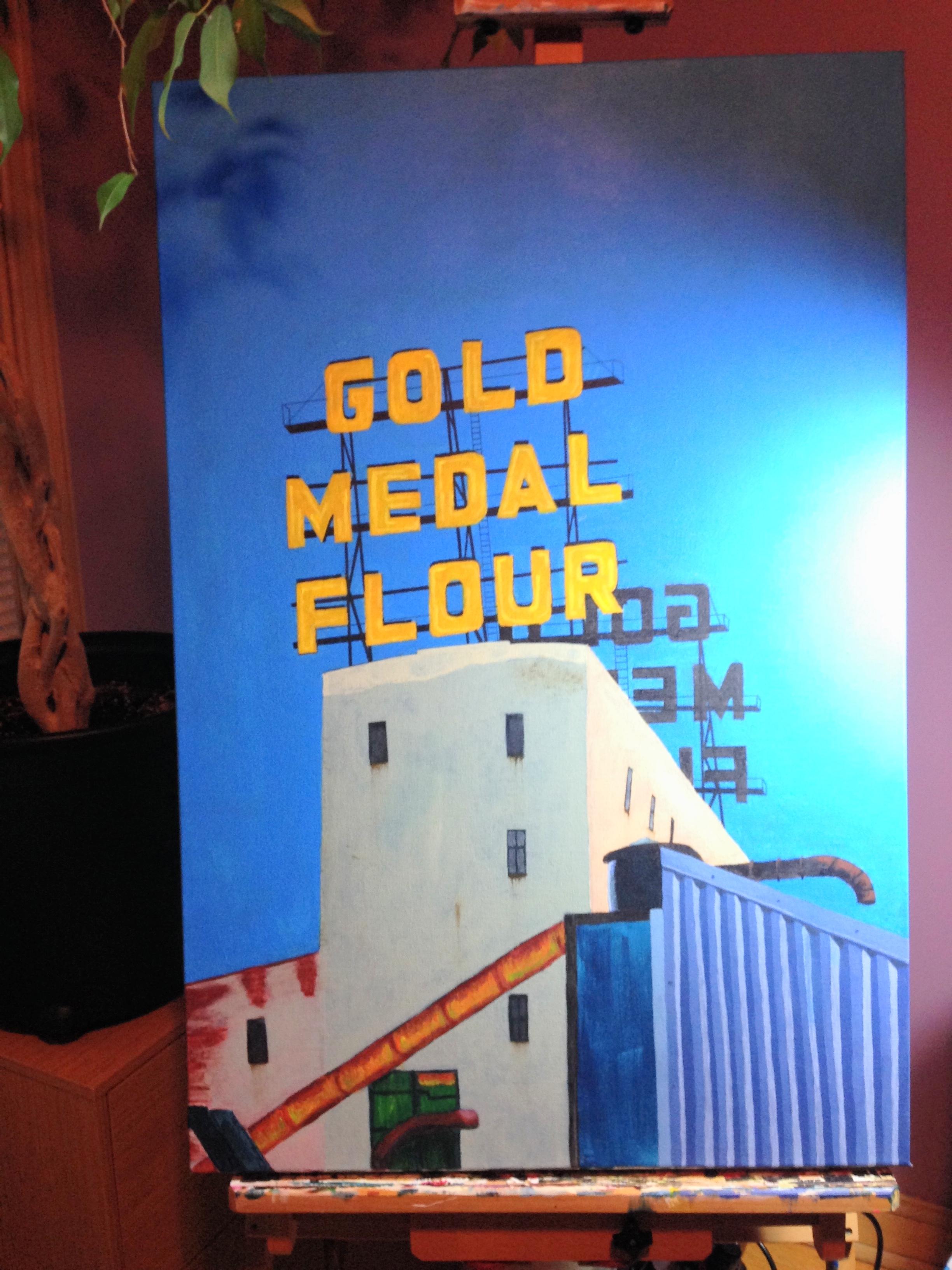 Gold Metal Flour sign