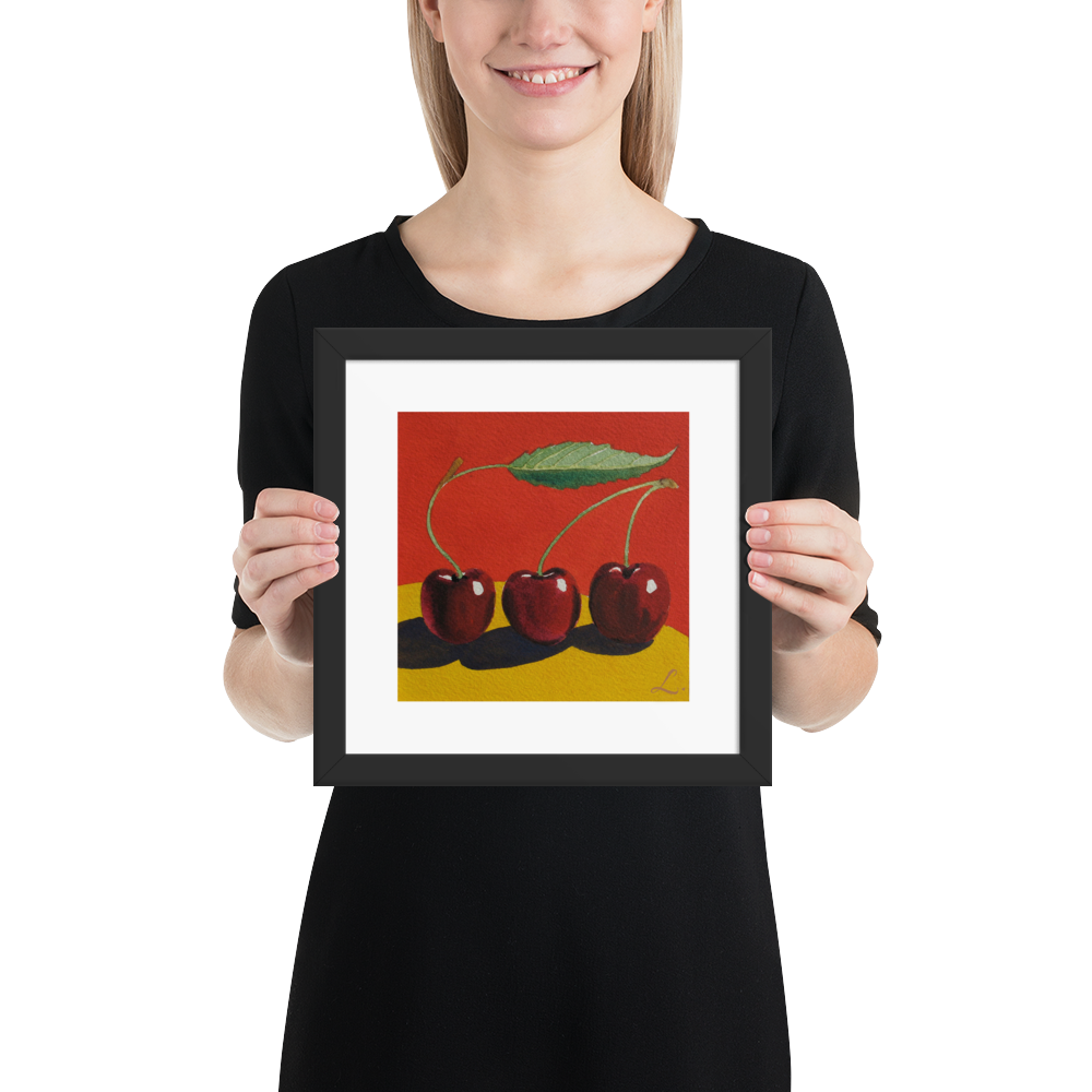 3-Cherries-on-Yellow-Fruit-frame-10x10_mockup_Person_Person_10x10.png