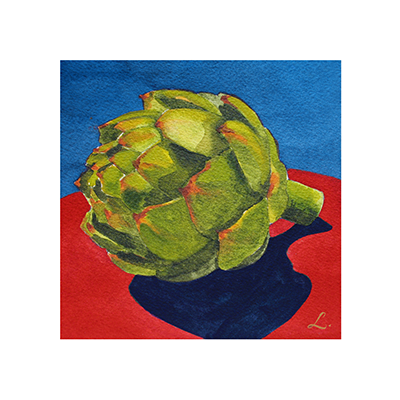 Artichoke on blue and red fruit frame 10x10.png