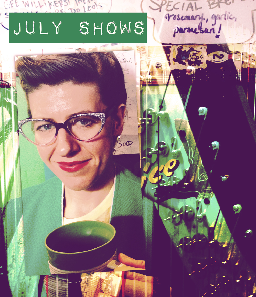 Just a quick note to say I have some little shows coming up and it would be lovely to see you:)    July 16, 10pm at  ZuZu   July 19, 12-2 at  Jamaica Plain Porchfest 2014  , 6 Cerina Road   July 26 around 6pm at  Out of the Blue Art Gallery