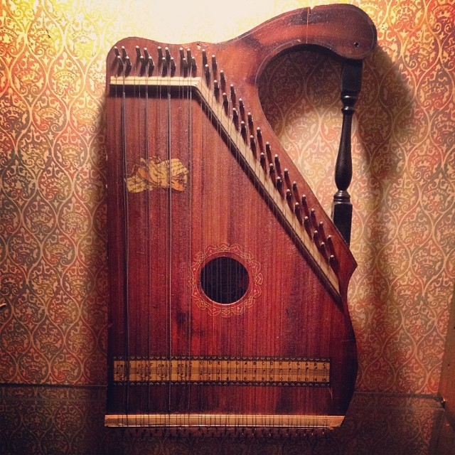 One of my antique harps. Attempting to tune.