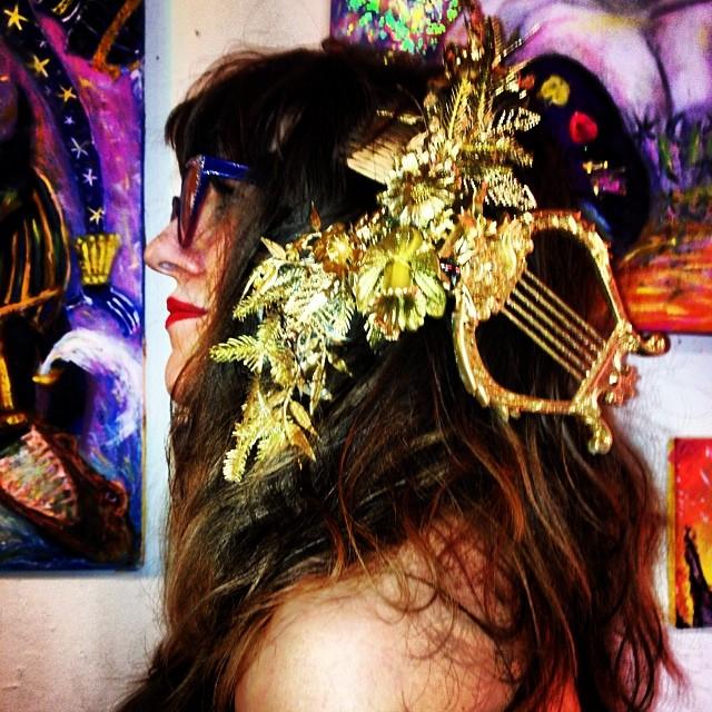 Custom harp hairpiece gift. By Tara Ozella of Church of Vanity. Love.