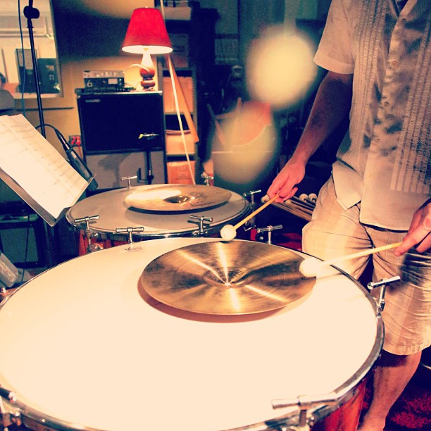 Getting percussive… Shiny noises at the percussion session for my EP, with Brian O'Neill (percussionist) and Chris McLaughlin (producer) @1867recording.
