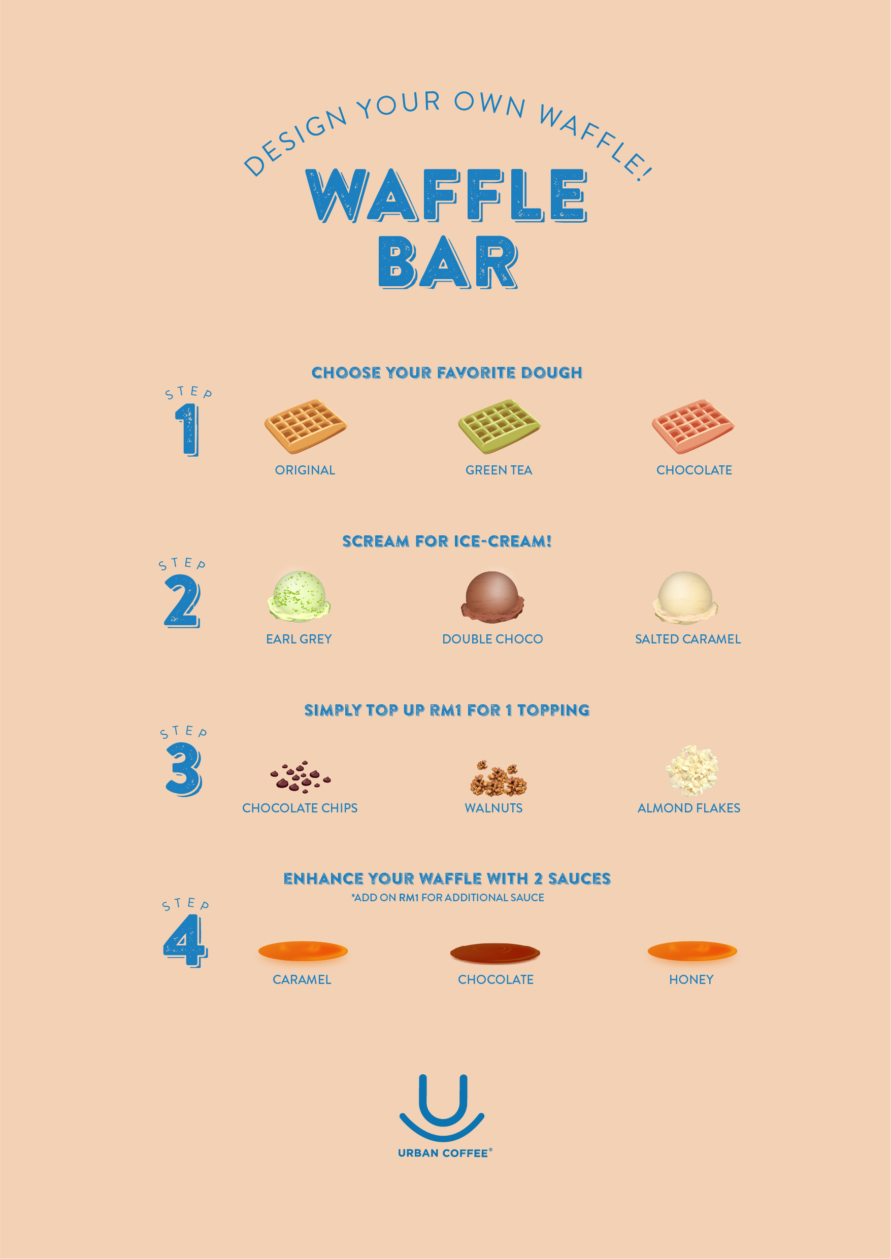 Waffle at only RM10! A new and wonderful homemade ice-cream (chocolate / earl grey / salted caramel). Wait, did we mention that you can customise your own favourite waffle too? . . Visit our Waffle Bar today because pleasure is the path to joy!:) . . . Available at : Urban Coffee @ Queensbay Mall