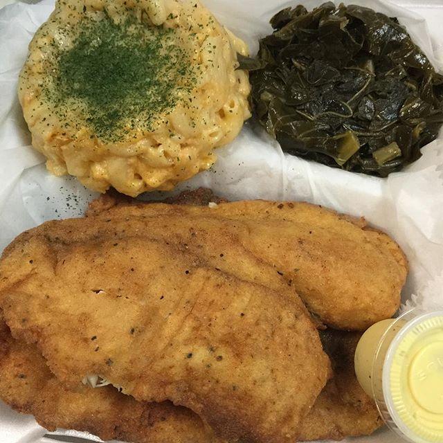 Fried Tilapia with Mac & greens @taste_of_flava #foodhubs  #ilovefood  #freshseafood  #NJFood  #BroadwayNJ  #foodbeast  #gurb  #foodporn  #grubhub  #newark  #BroadwayNJ  #africanfood  #northnewark  #NomNom  #soulfood  #goodeating  #goodfood  #tasteofflava  #seafood  #foodVSman #tasteofflava #chefCess🙌🏾 #goodeating #goodfood #foodaroundme #homeofcirocwing