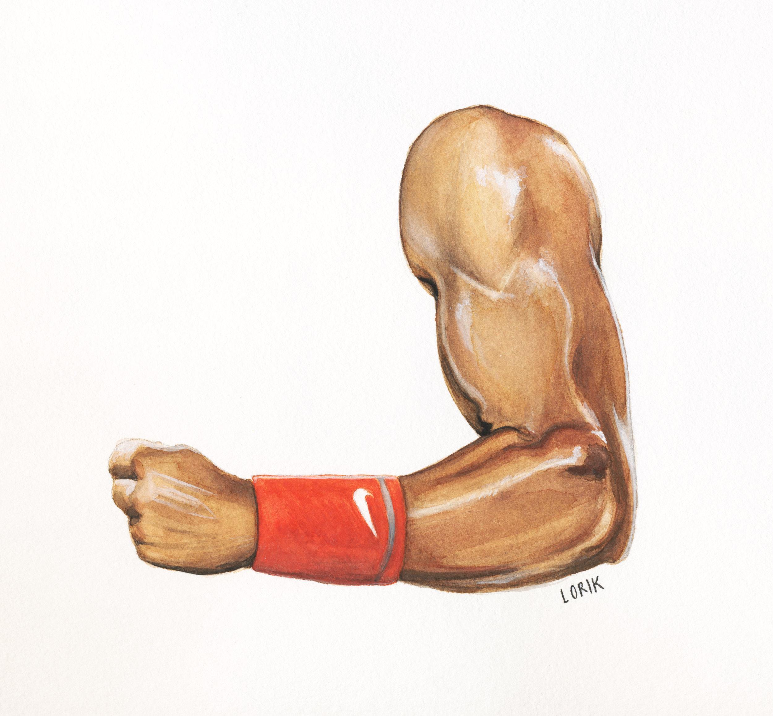 "NADAL'S LEFT ARM  - Watercolor, 6 x 6"""