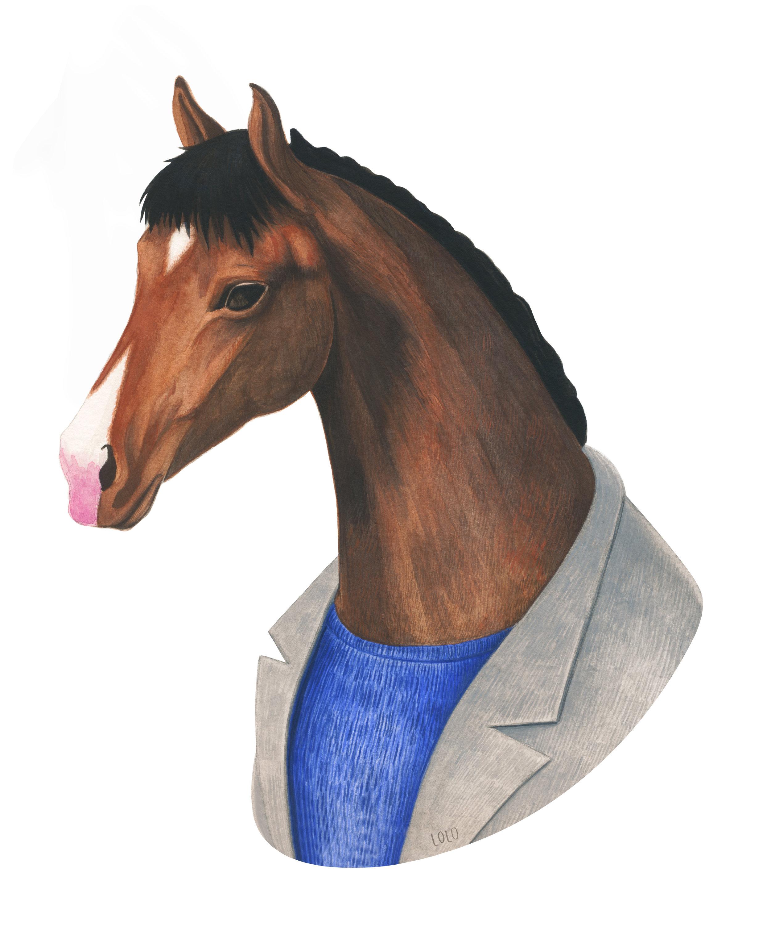 "BOJACK HORSEMAN  - Watercolor, 9 x 7"""