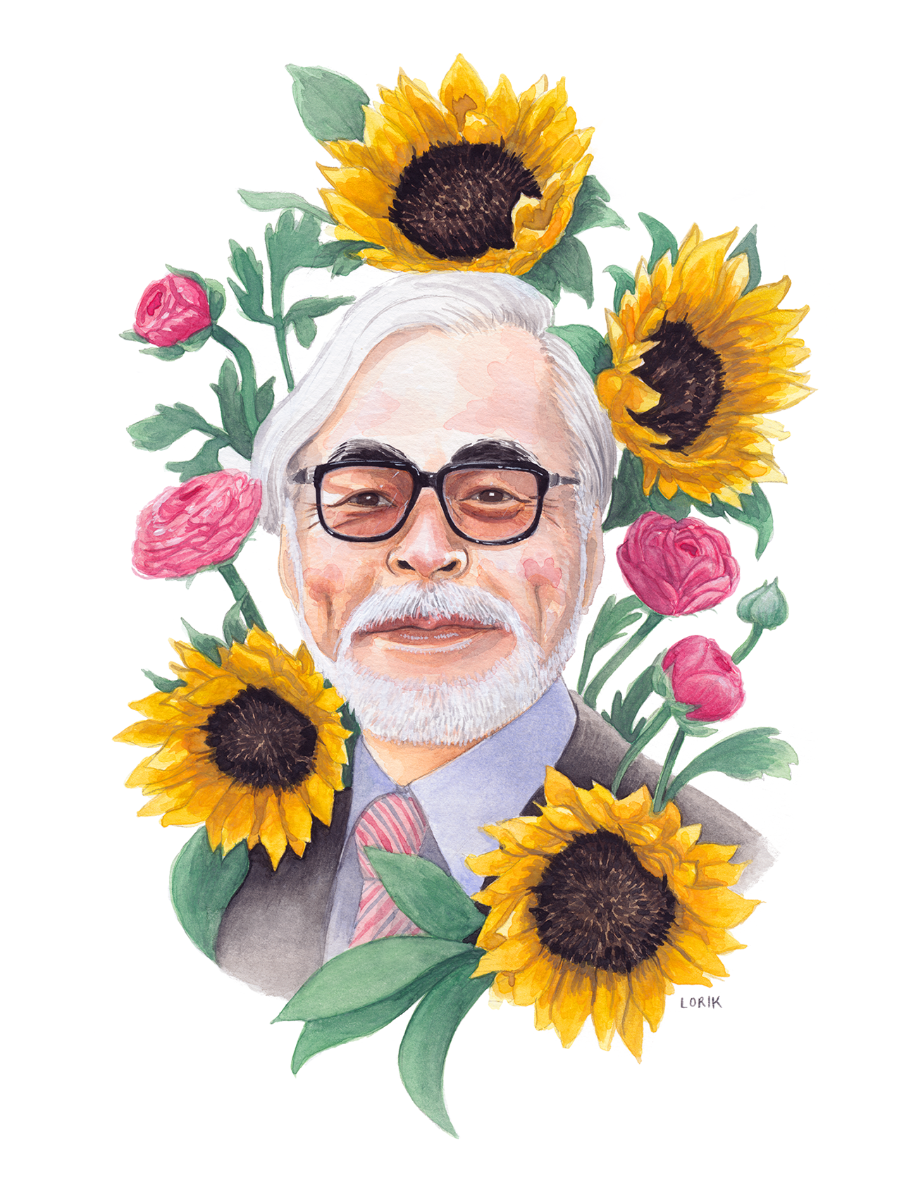 "Miyazaki Bouquet  - Watercolor, 10 x 8"""