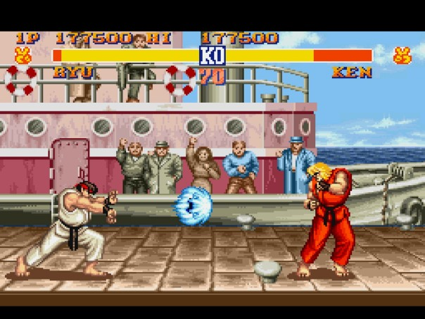 In this example, Ken has a variety of options he can use to respond to Ryu's Hadoken.