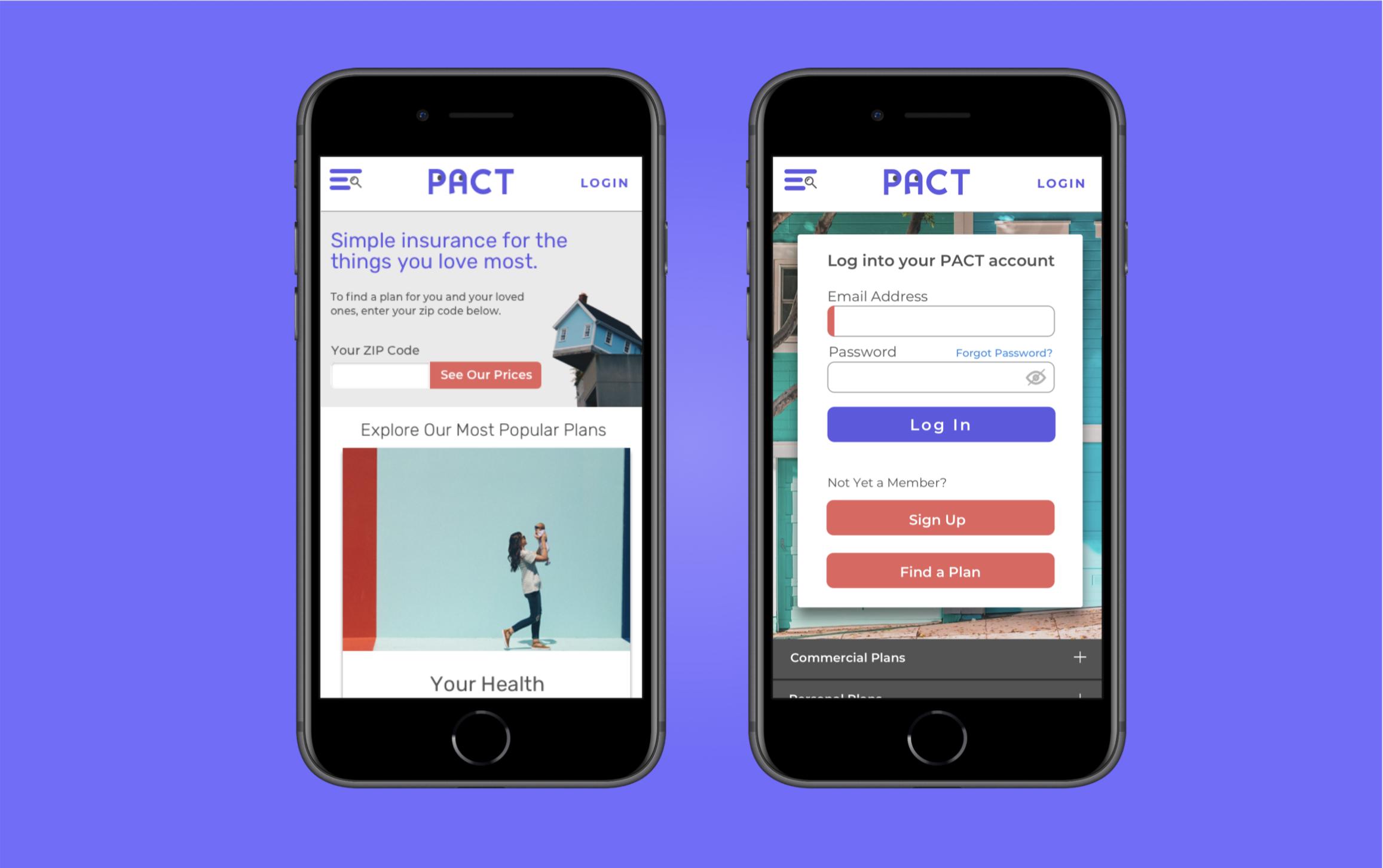 PACT Insurance - UX Design / UI Design / Prototyping / User Testing