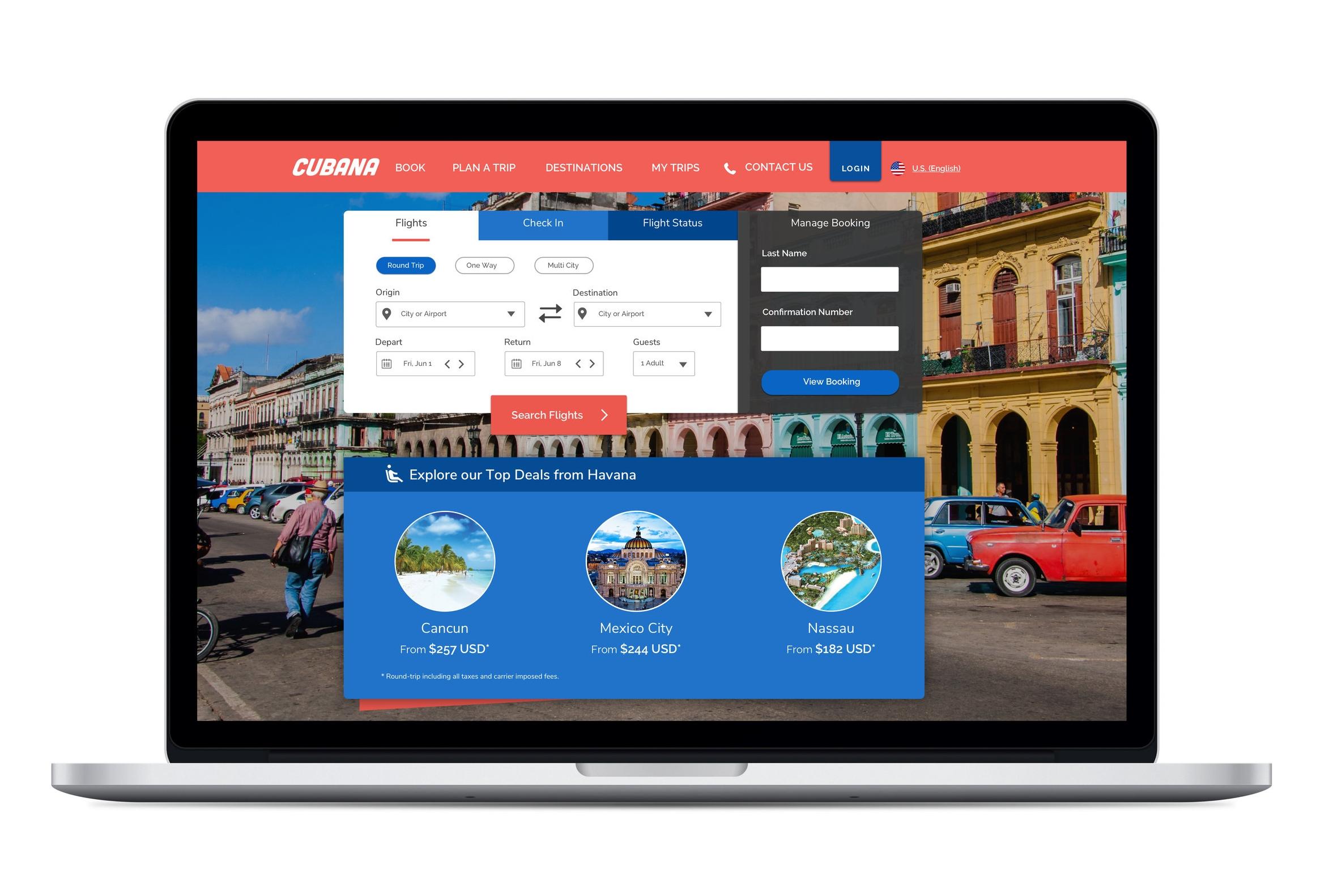 Cubana Airlines - UX Design / UI Design / Branding /Prototyping /   User Testing