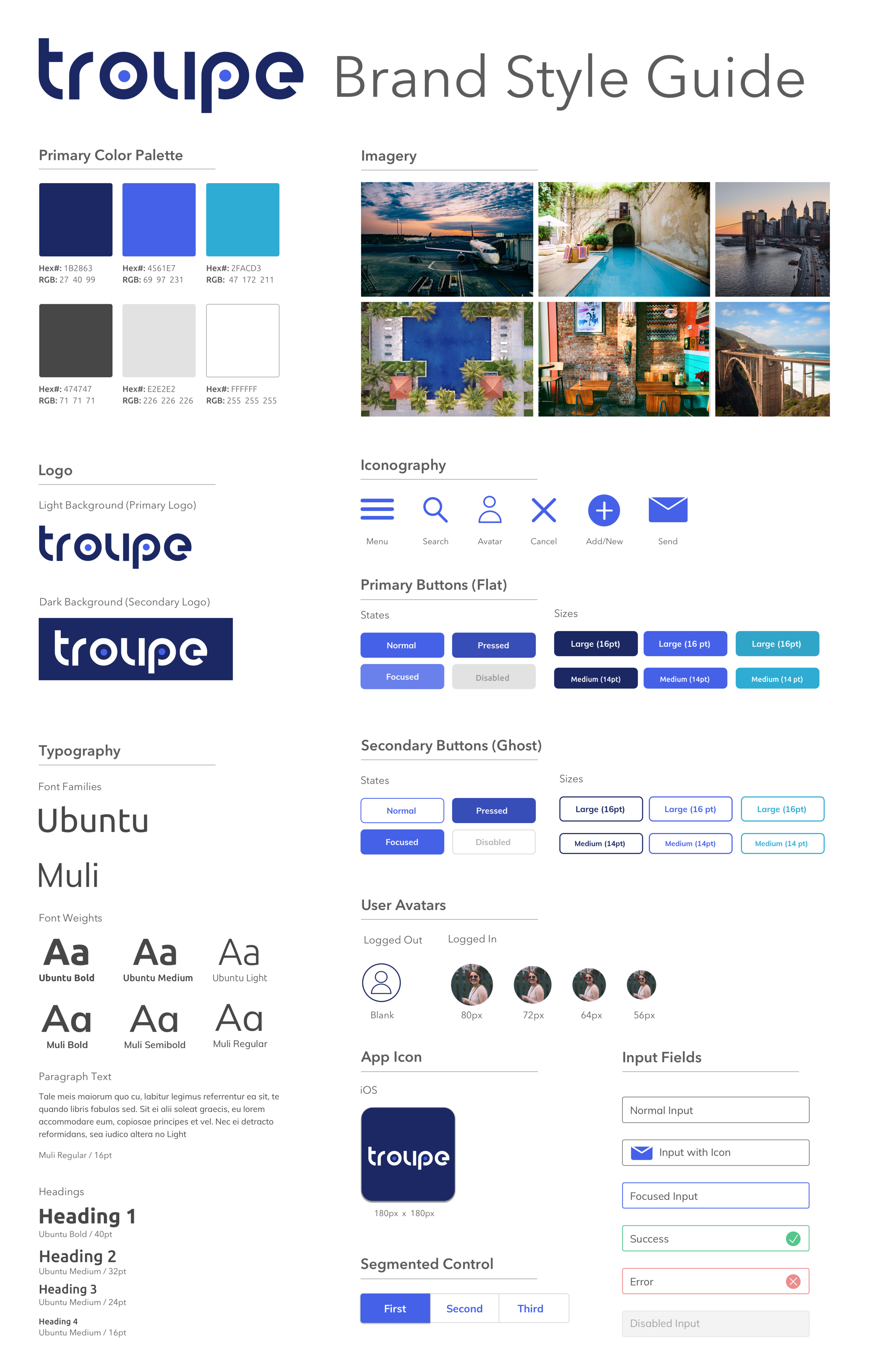 Style Guide for the Troupe brand, including some key UI elements