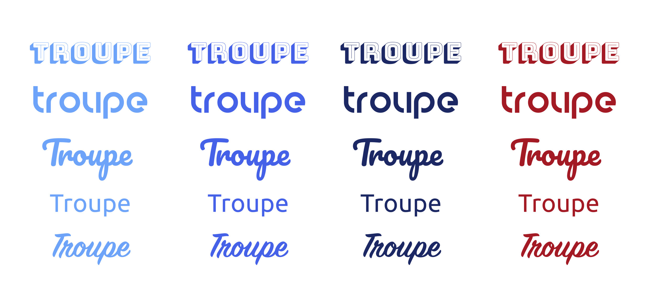 Wordmark exploration for the Troupe brand