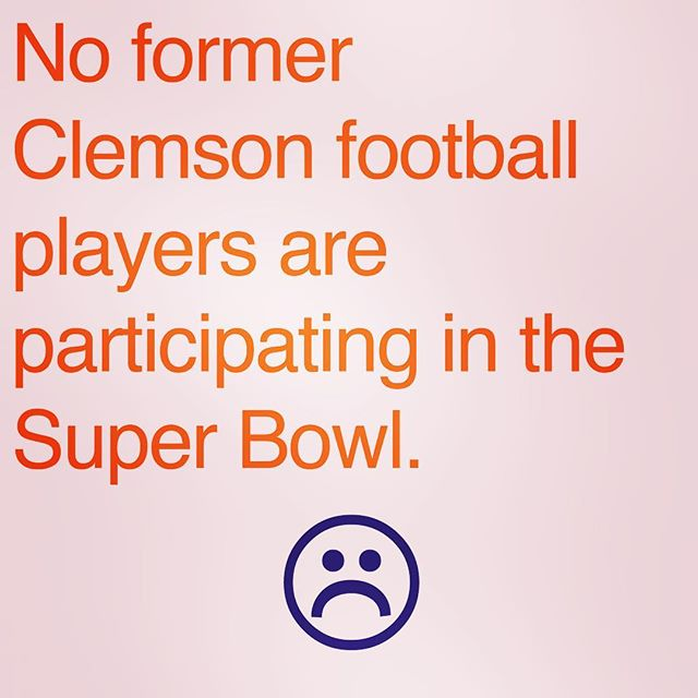 We were going to do a cool post about Clemson alumni in today's game. Instead, we have this. 😫😖😨😢😧😥😰😩😤😭