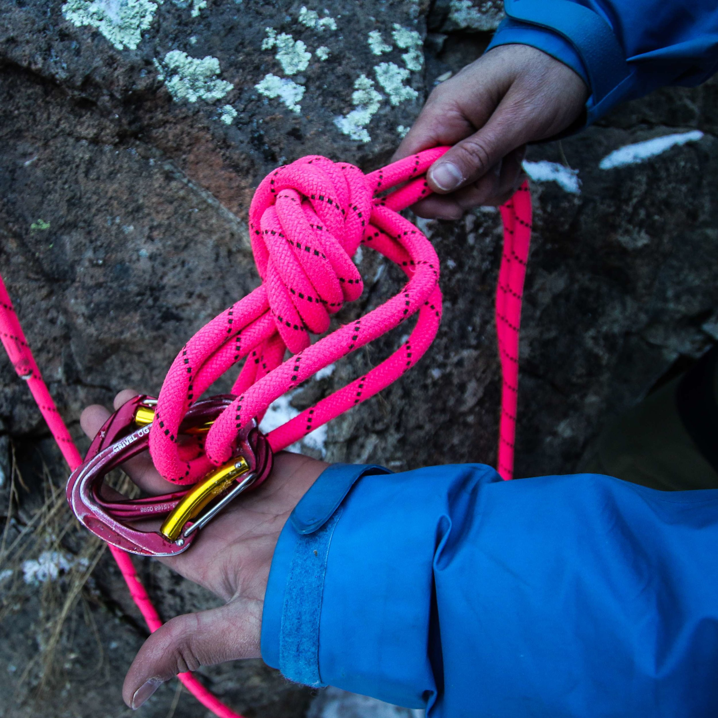 6. Clip 2 identical carabiners, opposite and opposing, into all 3 loops of the anchor focal point. -