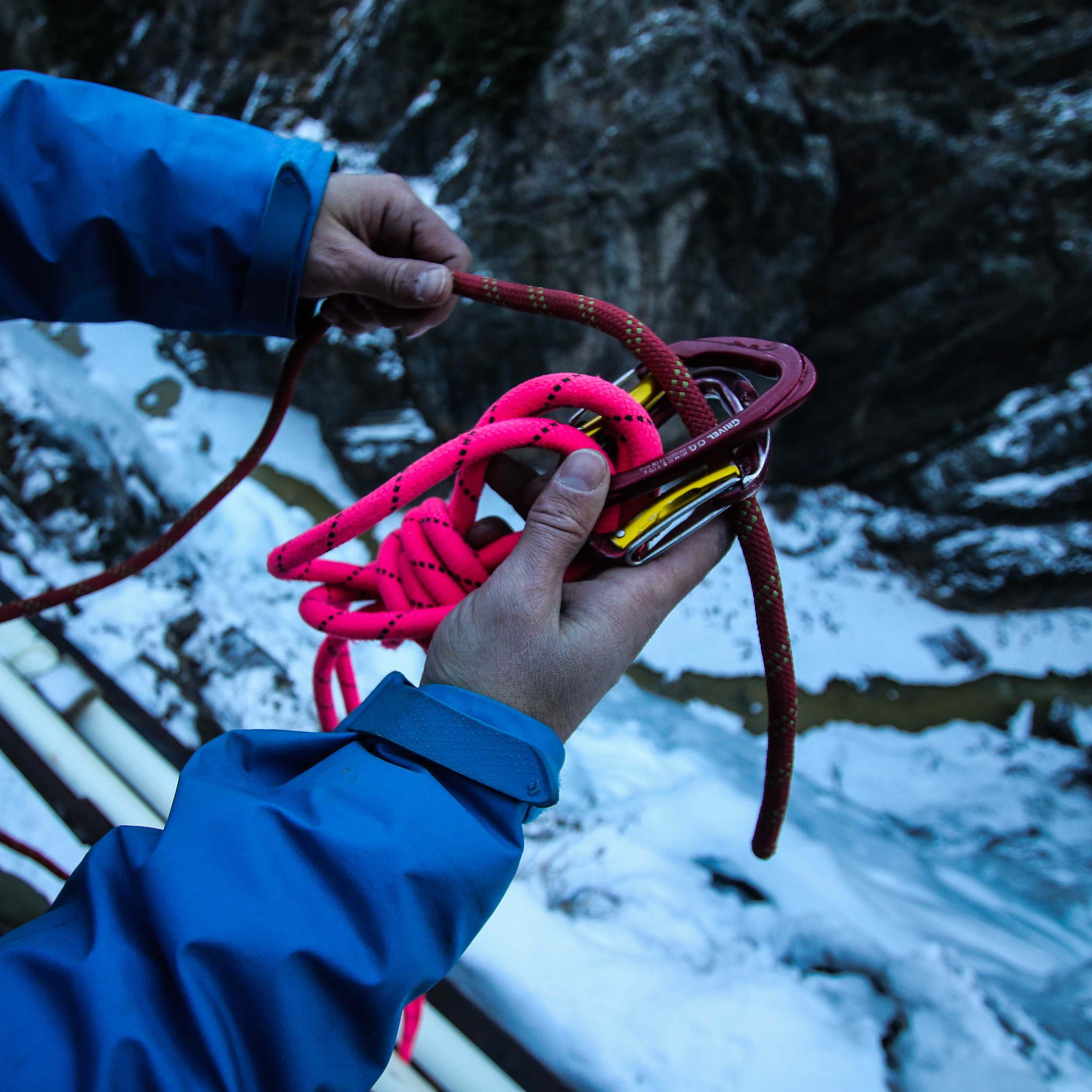 11. Set your climbing rope through the two carabiners at the anchor focal point -