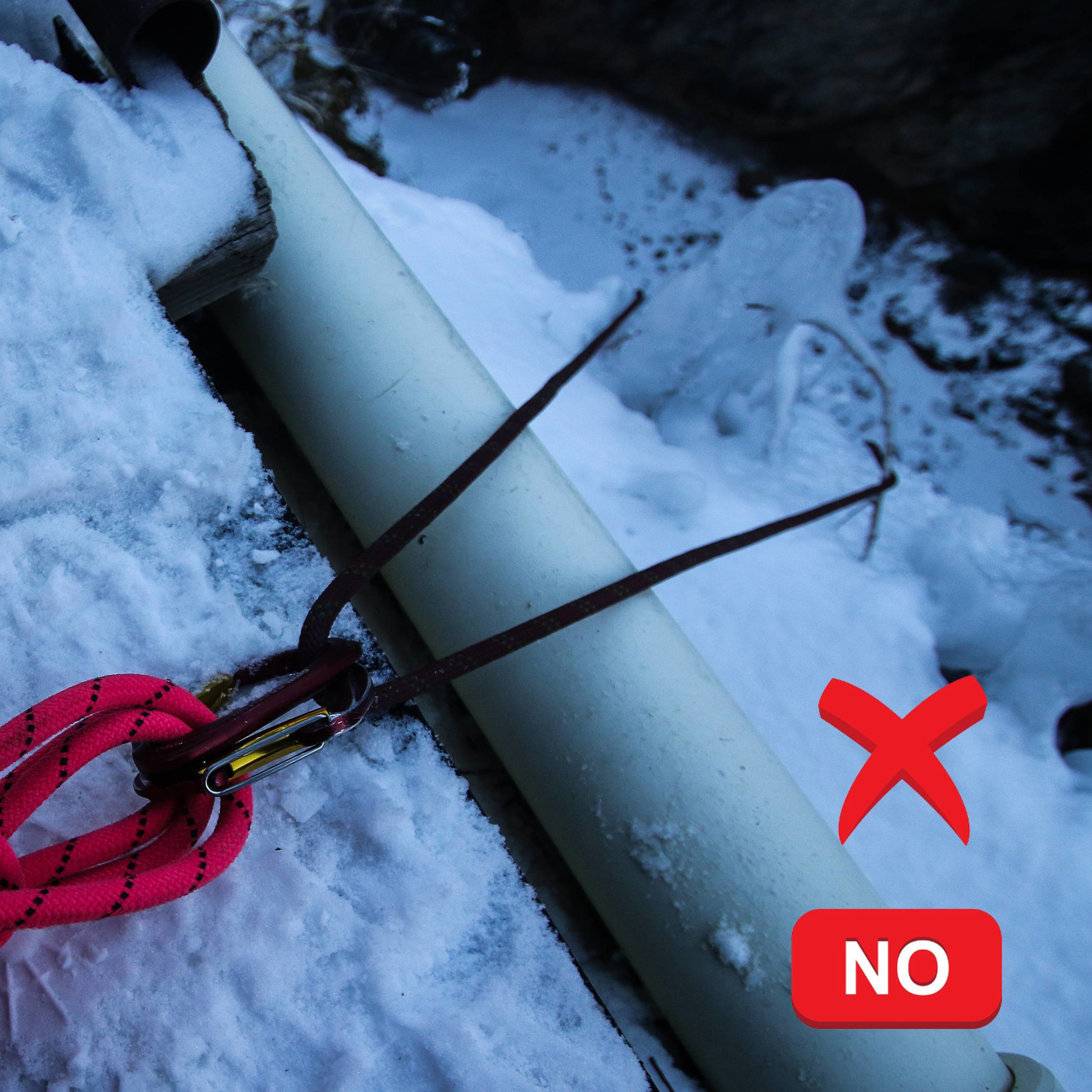Be mindful of water pipes! Pressure and moving rope can damage our precious ice making plumbing! -