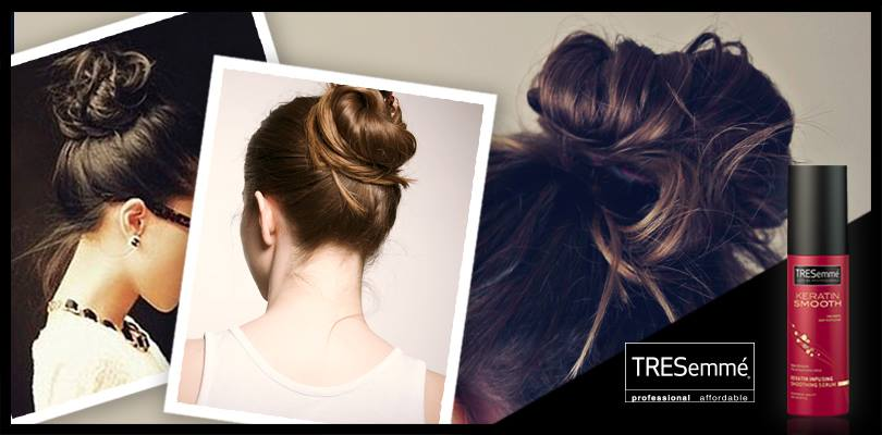 Messy bun ideas - TRESemmé Keratine Smooth