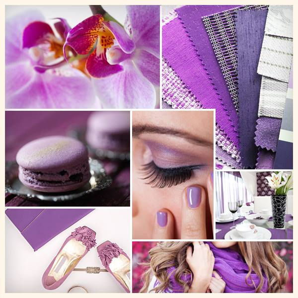 Style collage for the PANTONE color of 2014 (vibrant orchid)