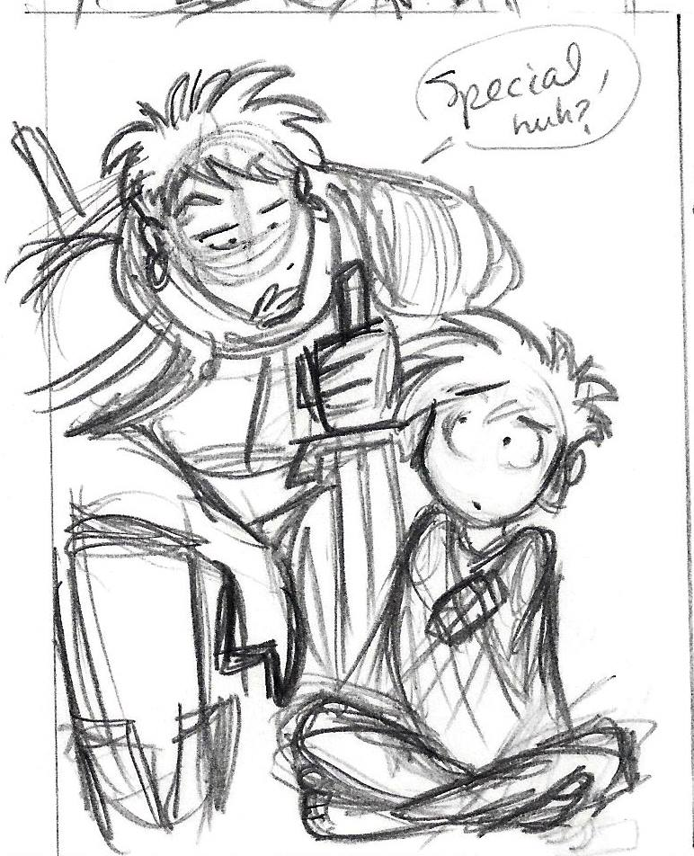 Marco learns that there's something  different  about Hugo. Panel draft art by Chris Moujaes.