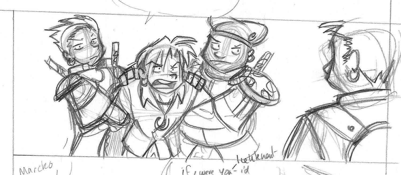 Webcomic panel draft by Chris Moujaes.