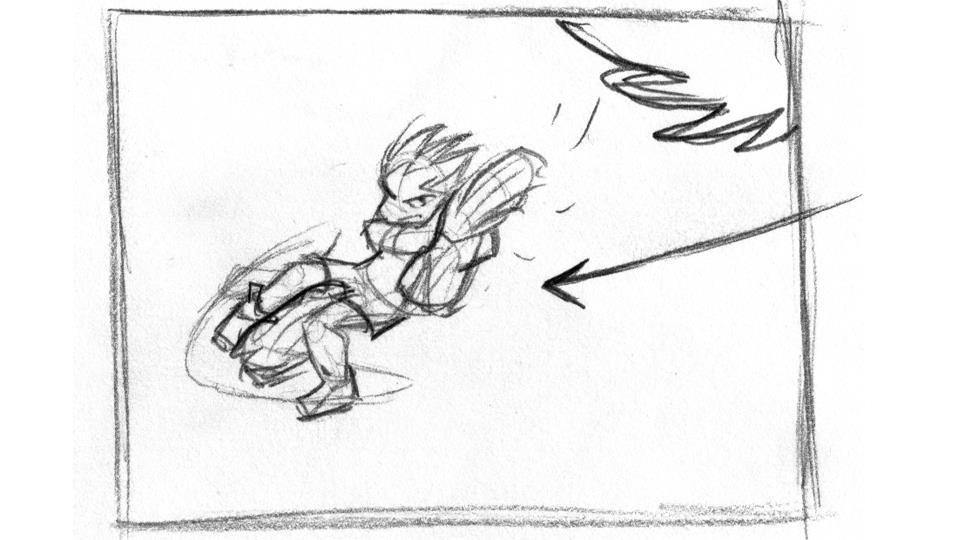 Storyboard art by Aaron Romo.
