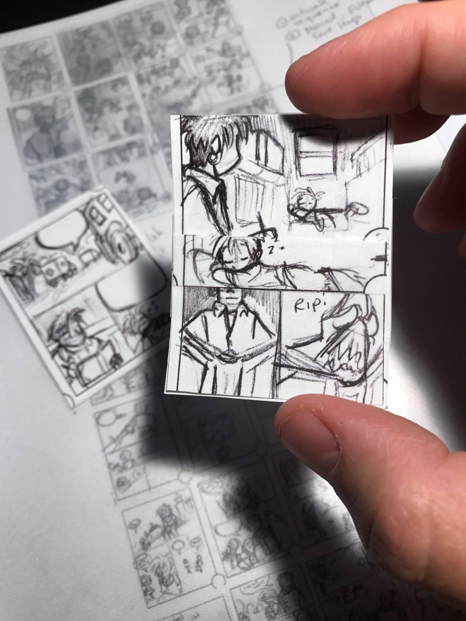 Thumbnail comic layouts by Chris Moujaes.