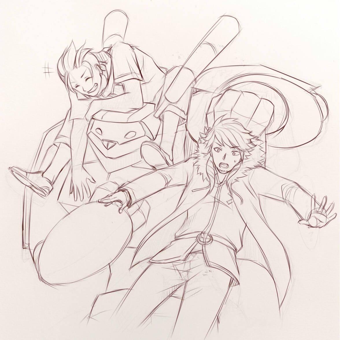 Pencil rough sketch by Kei Seki.