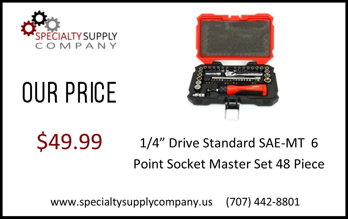 "1/4"" Drive Standard SAE MT 6 Point Socket Master Set 48 Piece"