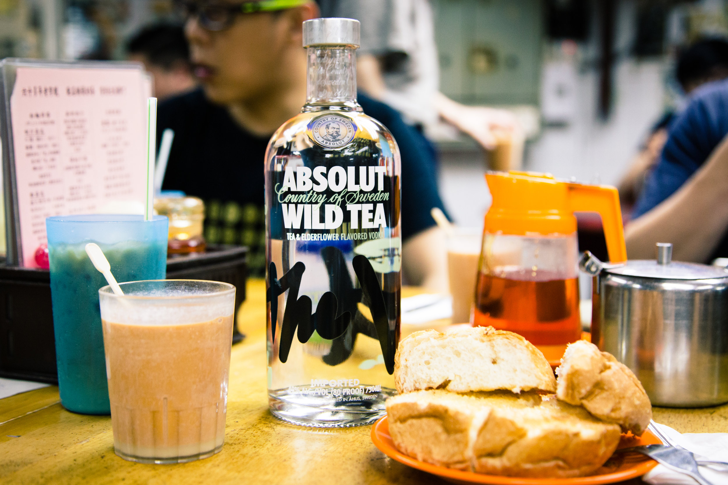STIR PR's photoshoot with Absolut Wild Tea paired with a local favourite- Ying Yang (Coffee and Milk Tea) with a side of buttered pineapple bun.