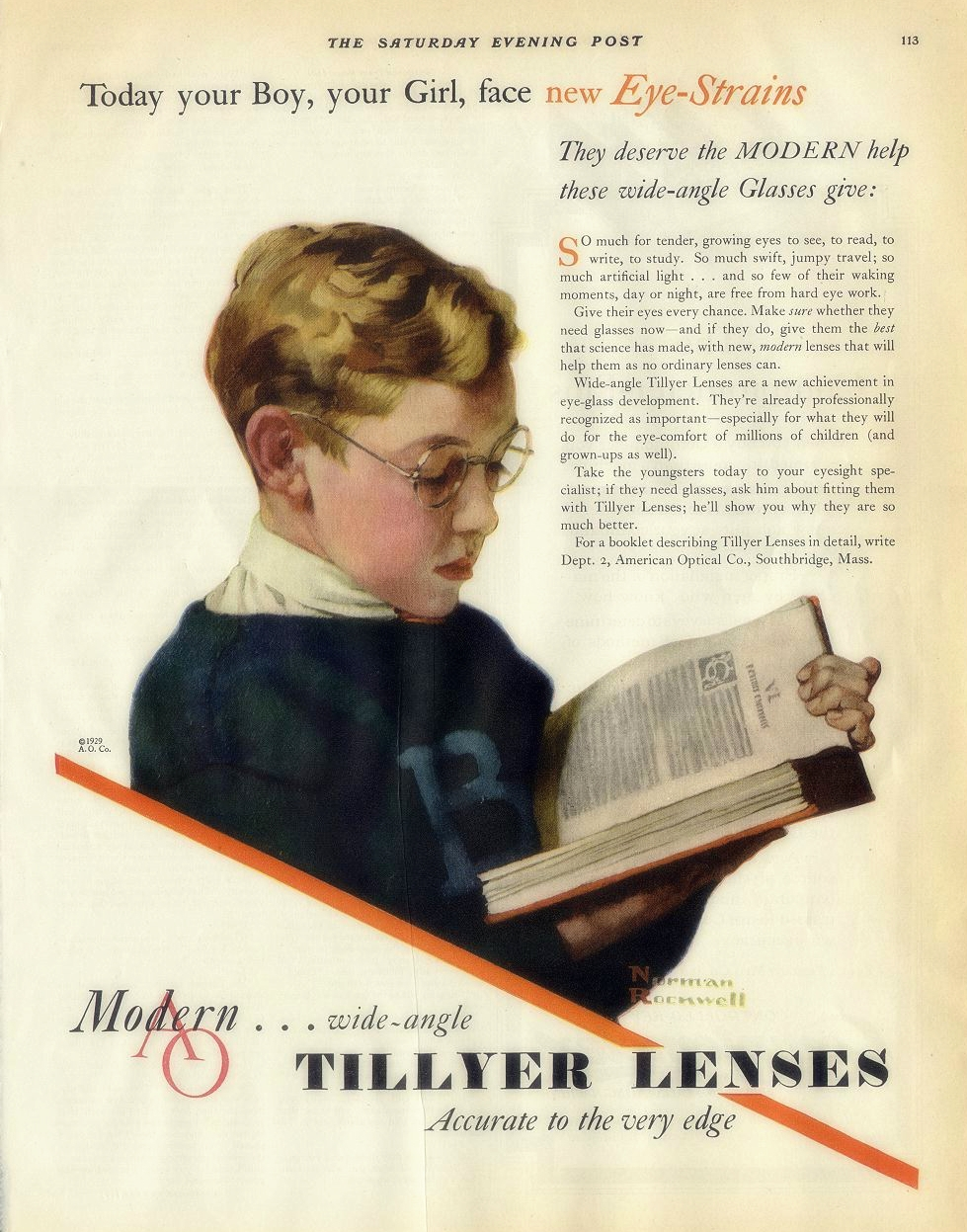 American Optical collaborated with artist Norman Rockwell   on                     a 1929 awareness campaign