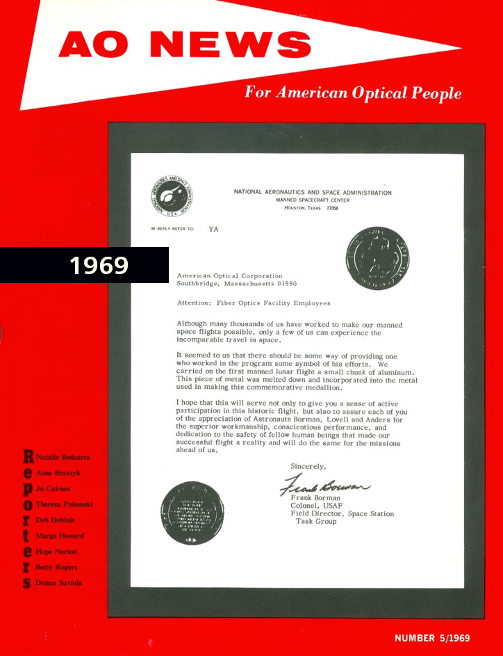 American Optical's commendation from NASA
