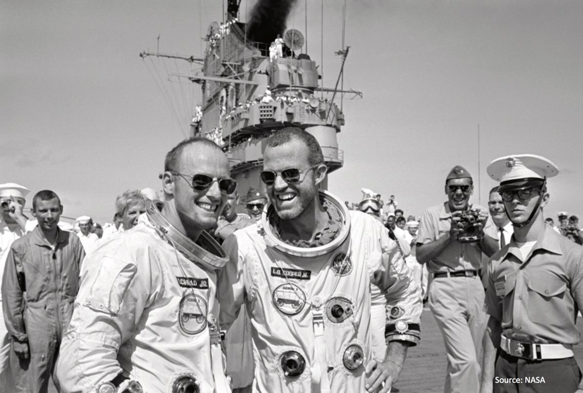Gemini 5 Astronauts - Gordon Cooper & Pete Conrad wearing American Optical sunglasses after returning from a week in outer space.