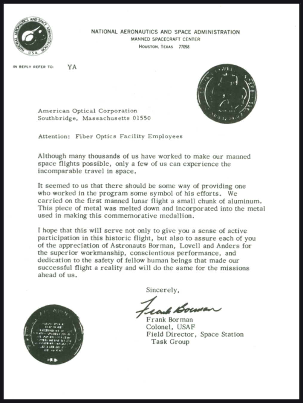 A letter of commendation - A letter from NASA to American Optical on it's contributions to the lunar mission.