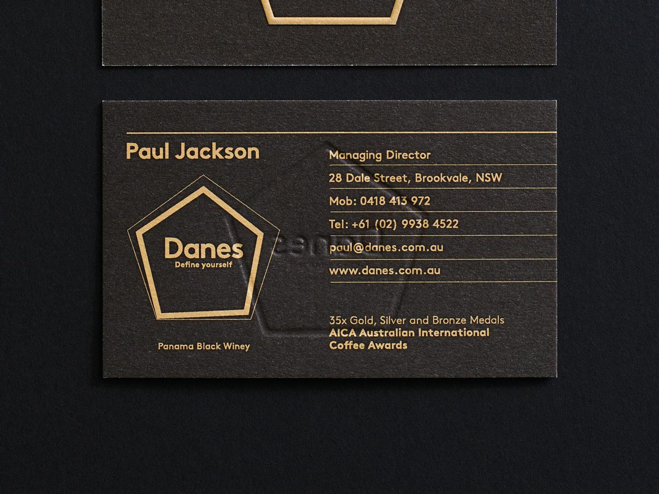 'Define Yourself' Each card holder has their favourite coffee's flavour profile.