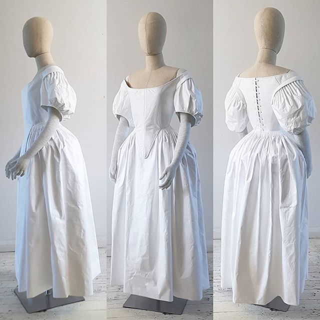 I wish I could photograph all 4 of these that I made together, but they only sent one mannequin. Hopefully I will get a photo of them from the exhibition at Ham House. . . . . . #1660s #historicalcostume #cartridgepleat #gown #17thcentury #womenswear #dress #whitedress #tyvek #handmade #madeinbritain #freelance