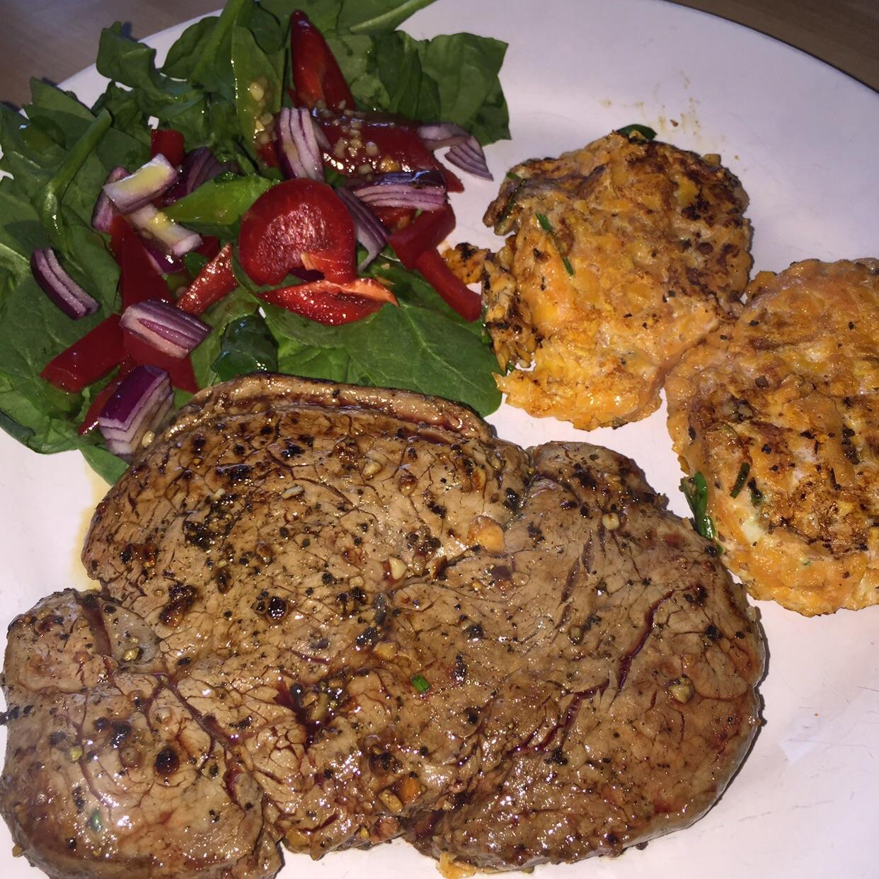 Steak and Sweet Potato Rostis