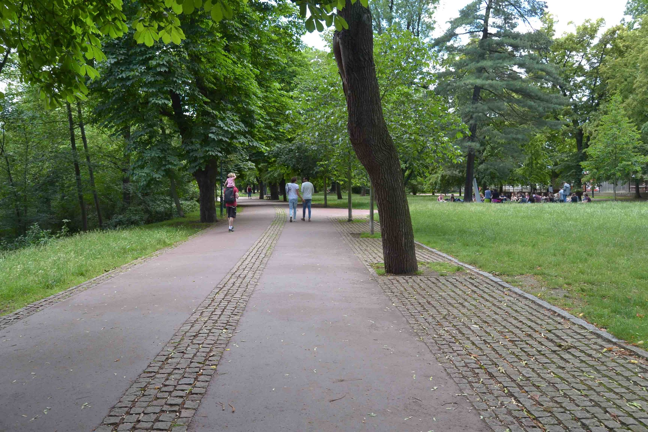 Broad walkways with tall leafy trees make this a lovely park to explore