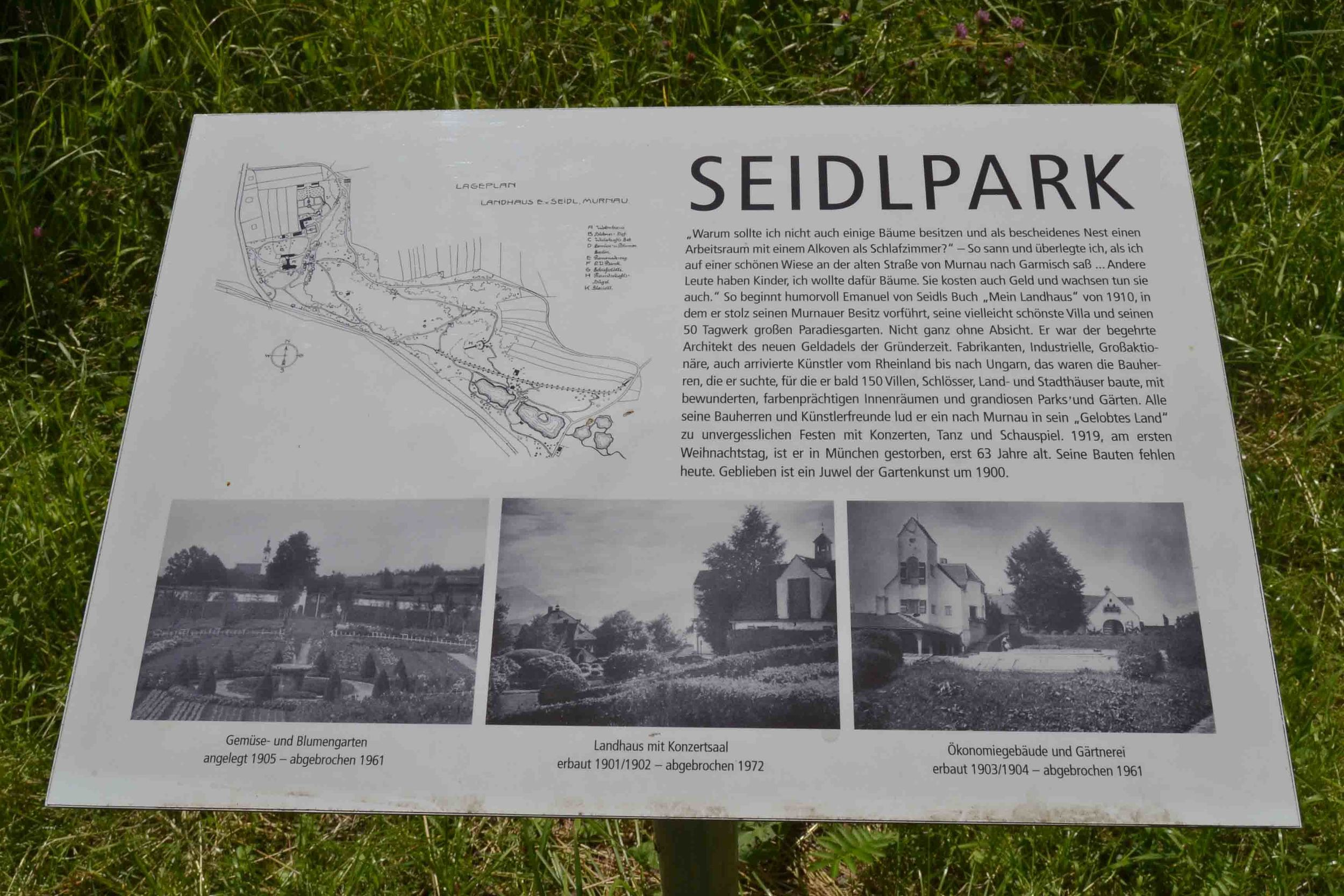 Map of Park with photos of Emanuel von Siedl's country villa (destroyed 1972)